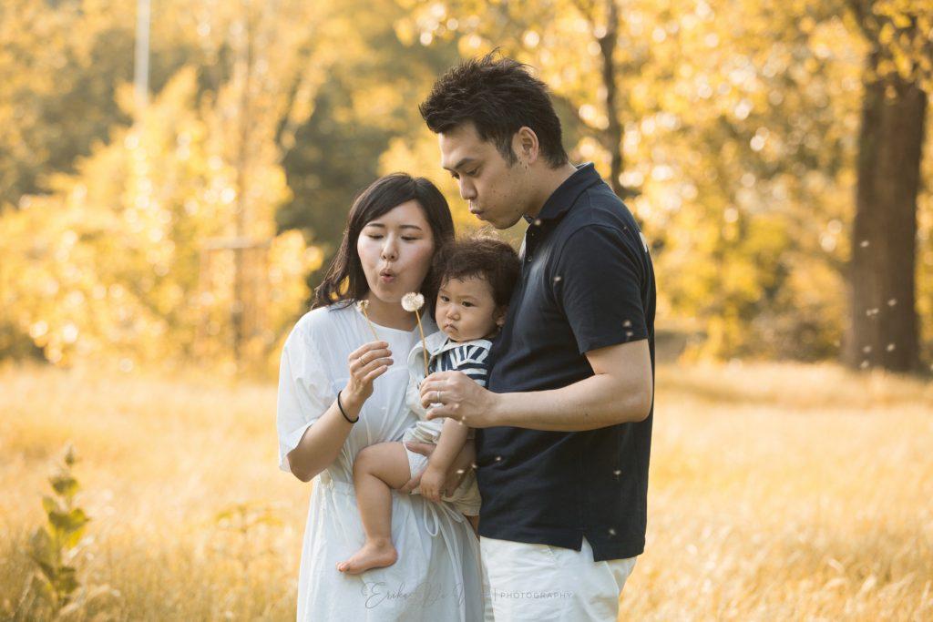 ritratto di famiglia al parco