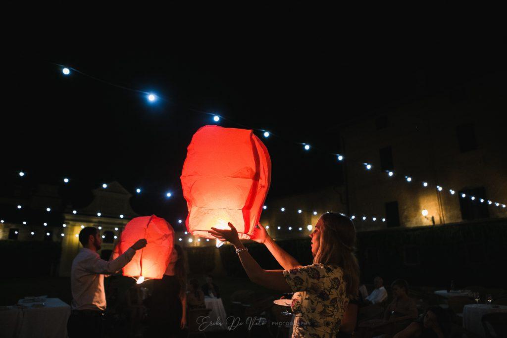 luci lanterne matrimonio notte